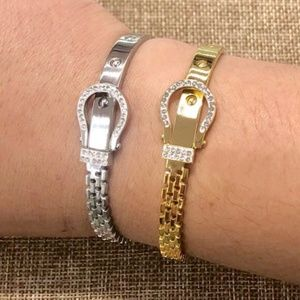 Jewelry - BUNDLE OF TWO Stainless Steel CZs BUCKLE BANGLE